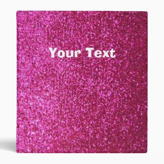 Faux Hot Pink Glitter Binder