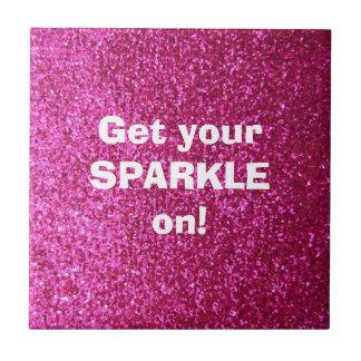 Faux Hot Pink Glitter Ceramic Tile