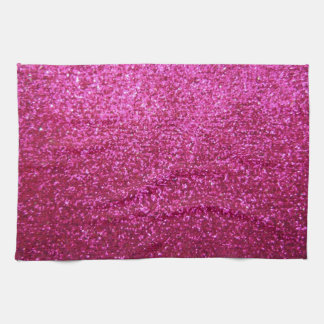 Faux Hot Pink Glitter Kitchen Towel