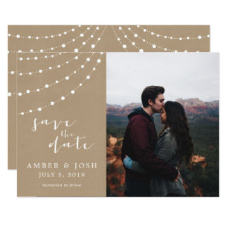 Faux Kraft Photo Save the Date Card