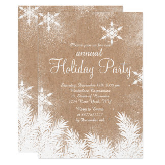 faux kraft rustic snow winter corporate holiday card