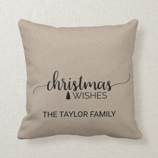 Faux Kraft Simple Calligraphy Christmas Throw Pillow