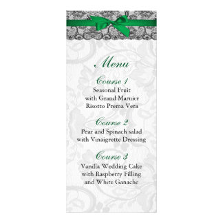 Faux lace and ribbon emerald green wedding Menu Customized Rack Card
