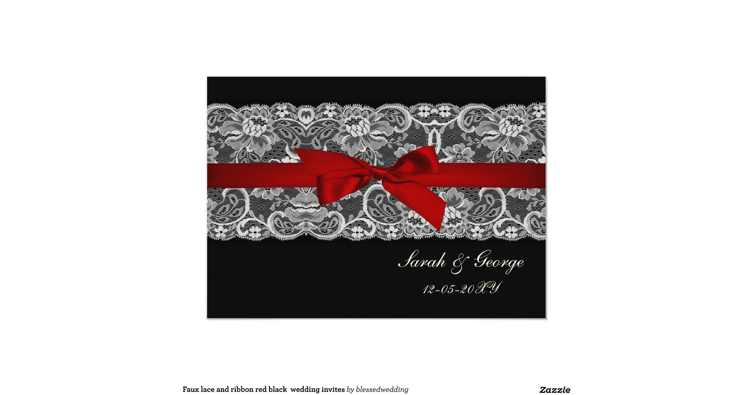 Red White And Black Ribbon Wedding Invitations Zazzle