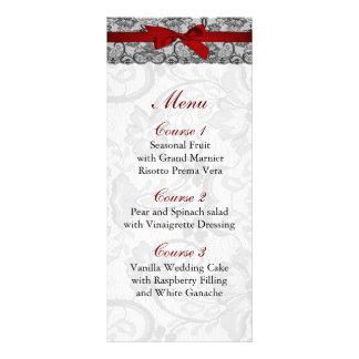 Faux lace and ribbon red ,black  wedding Menu Full Color Rack Card