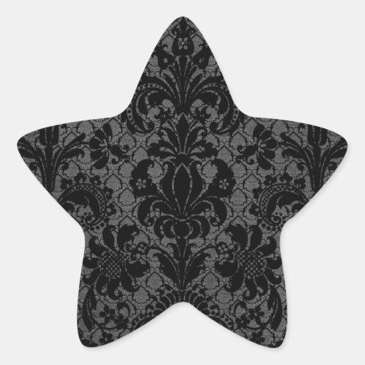 faux lace black gray damask pattern sticker