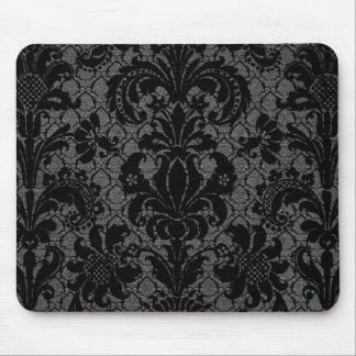 faux lace black grey damask pattern mousepad