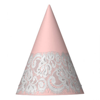 Faux Lace on Custom Color - Light Pink Party Hat