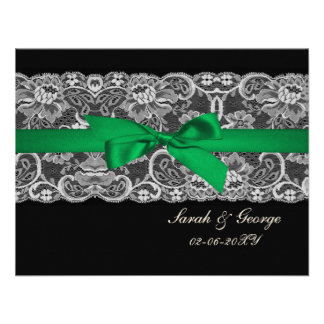 Faux lace ribbon emerald green wedding rsvp personalized invite