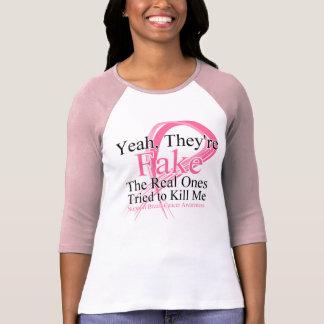 Faux - le vrai a essayé de me tuer - cancer du sei t-shirts