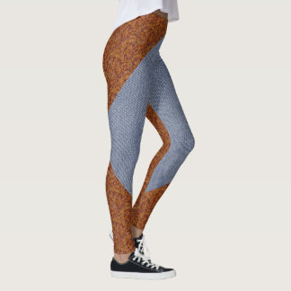Faux Leather and Denim Print Leggings