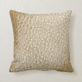 Faux Leather Champagne Design Throw Pillow