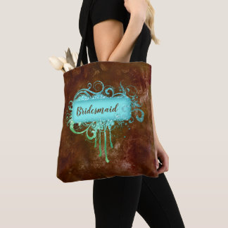 Faux Leather Copper Blue Glitter Frame Tote Bag