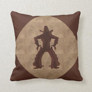 Faux Leather Cowboy Drawing Guns - 2 Tone Throw Pillow