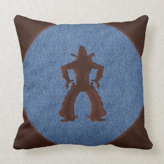 Faux Leather Cowboy Drawing Guns on Denim Throw Pillow