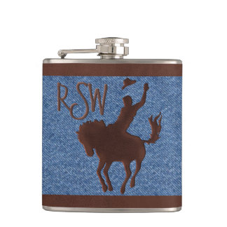 Faux Leather Cowboy on Horse (Personalized) Flask
