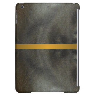 Faux Leather iPad Case Black Grey Gold Band