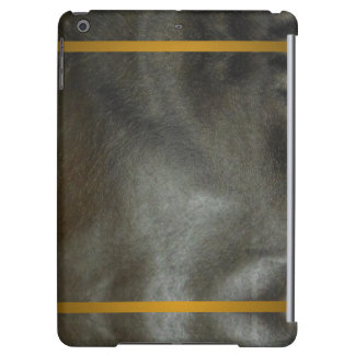Faux Leather iPad Case Black Grey Gold Band 2