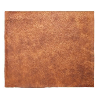 Faux leather look cognac brown vintage duvet cover