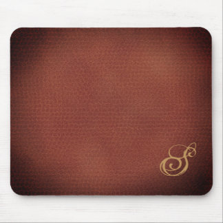 Faux Leather Look Elegant Monogrammed Mouse Pad