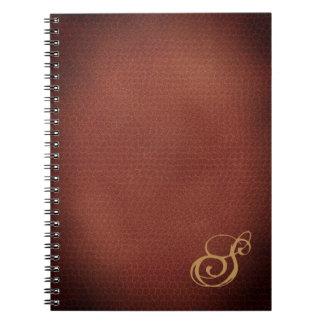 Faux Leather Look Elegant Monogrammed Notebook