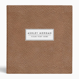 Faux Leather Natural Brown 3 Ring Binders