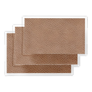 Faux Leather Natural Brown Acrylic Tray