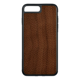 Faux Leather Natural Brown Carved iPhone 8 Plus/7 Plus Case