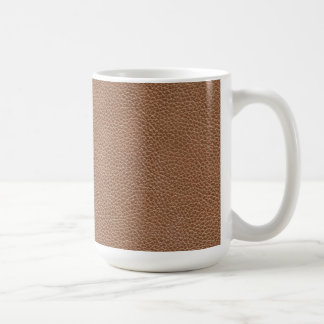 Faux Leather Natural Brown Coffee Mug