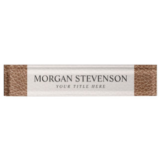 Faux Leather Natural Brown Desk Name Plate