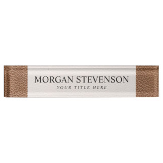 Faux Leather Natural Brown Desk Name Plates