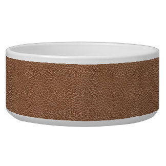 Faux Leather Natural Brown Dog Bowls