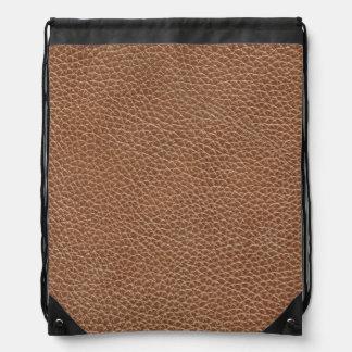 Faux Leather Natural Brown Drawstring Bag