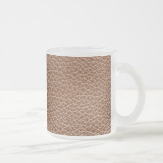 Faux Leather Natural Brown Frosted Glass Coffee Mug