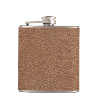Faux Leather Natural Brown Hip Flask