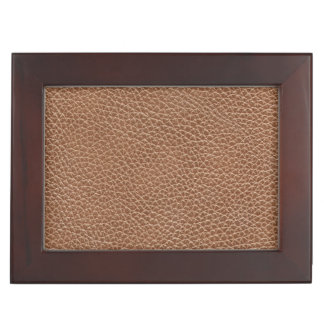 Faux Leather Natural Brown Keepsake Box