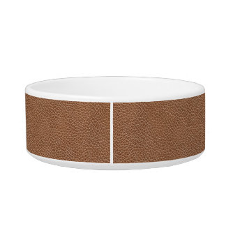 Faux Leather Natural Brown Pet Food Bowls