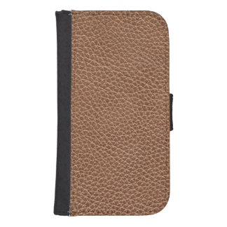 Faux Leather Natural Brown Samsung S4 Wallet Case