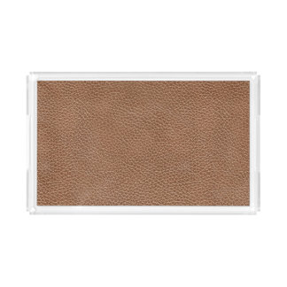 Faux Leather Natural Brown Serving Tray