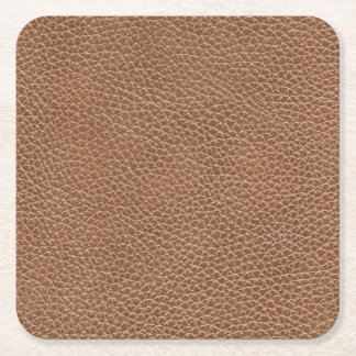 Faux Leather Natural Brown Square Paper Coaster
