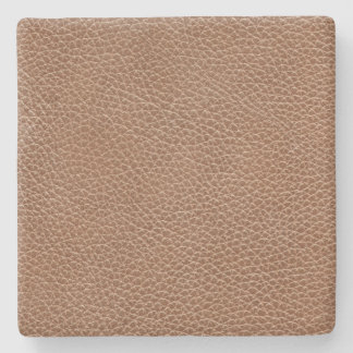 Faux Leather Natural Brown Stone Coaster
