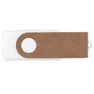 Faux Leather Natural Brown Swivel USB 2.0 Flash Drive