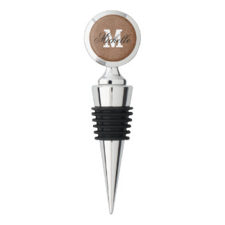 Faux Leather Natural Brown Wine Stopper
