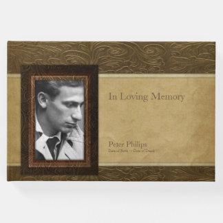 Faux leather parchment Photo Memorial Guest Book