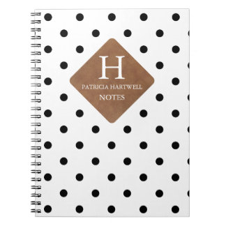 Faux Leather Patch on Chic Black Dots Monogram Notebook