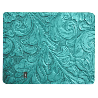 Faux Leather Pattern Western Teal Journal Notebook