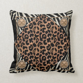 Faux Leopard and Zebra American MoJo Pillow