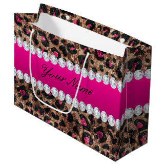 Faux Leopard Hot Pink Rose Gold Foil and Diamonds Large Gift Bag