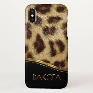 Faux Leopard Skin Modern Monogram Black Gold iPhone X Case