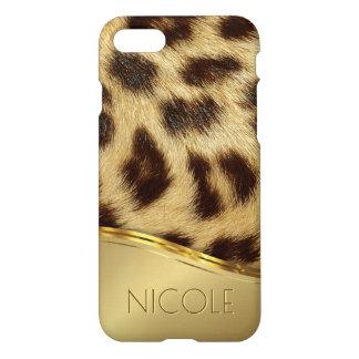Faux Leopard Skin Modern Monogram Luxury Gold iPhone 8/7 Case